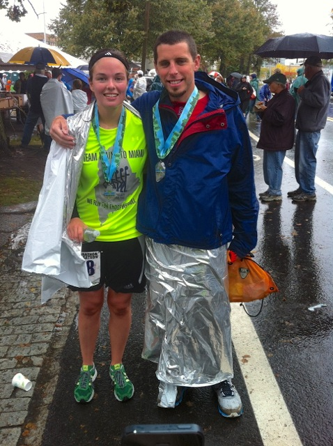 Miles and I after the Maine Marathon 2012. I finished my second marathon and Miles did his first half.