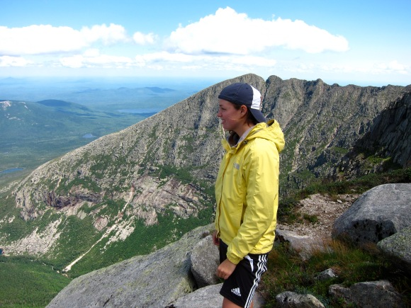 Lindsey on the way up Katahdin with Knife's Edge in the background.
