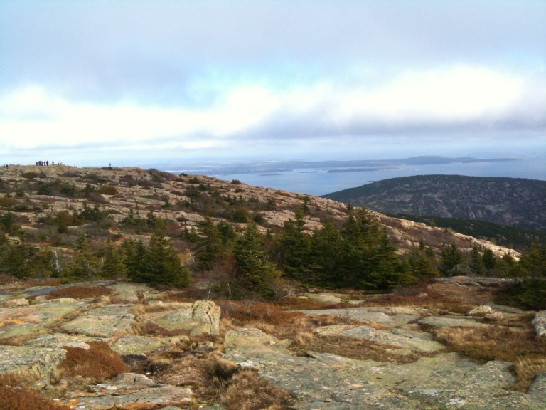 The view from the top of Cadillac Mountain in Acadia National Park, less than an hour from where I grew up. Dorr Mountain and the Atlantic are in the background.