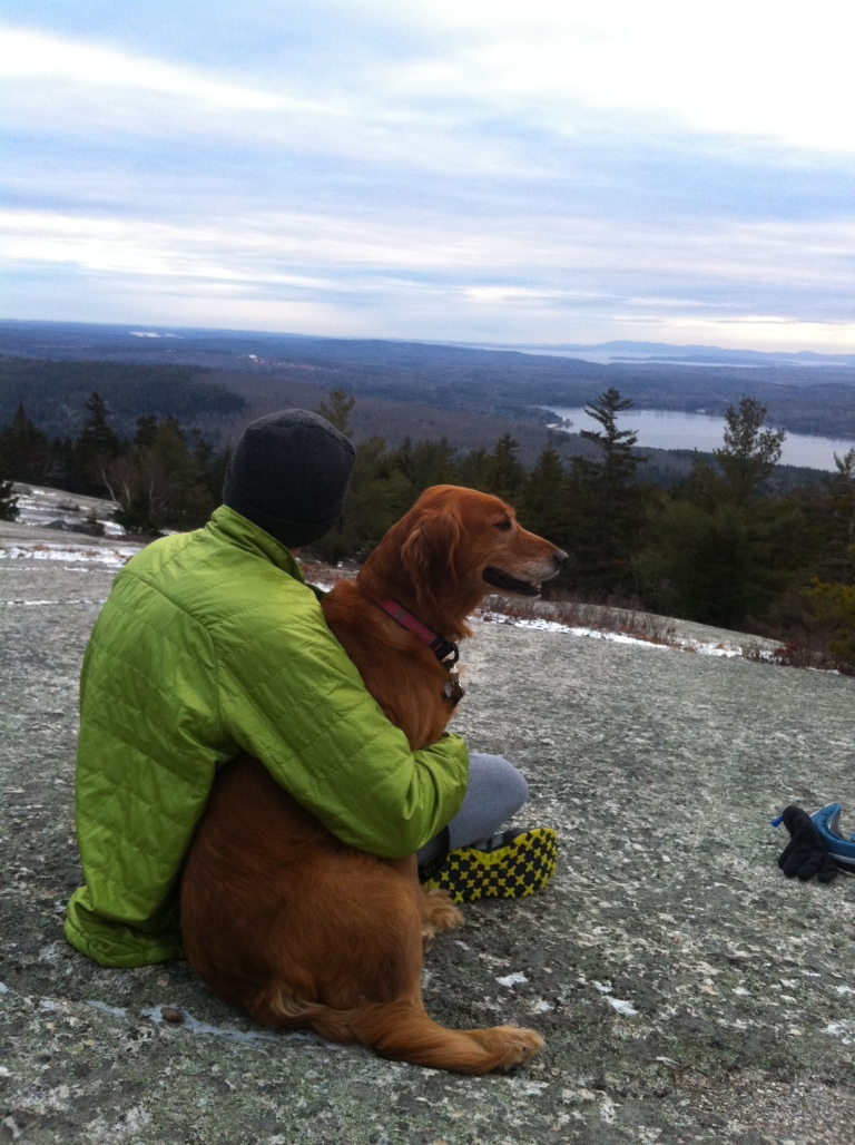 Miles and my parent's dog Stella atop Great Pond again for a Christmas day hike. We had fun sliding down the icy granite trail on the way down!
