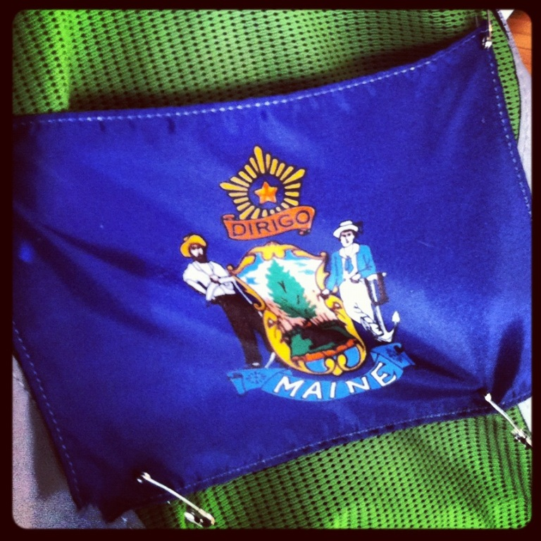 The front of my pack. Representing the good ol' State of Maine!