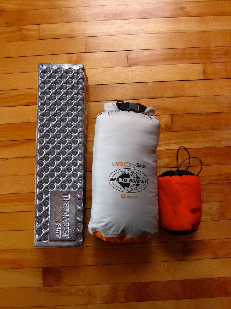 Sleeping pad, sleeping bag, and liner.
