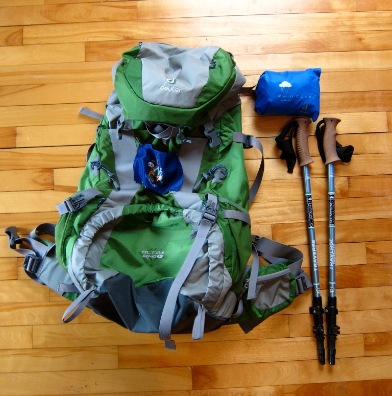 Pack, pack cover, and hiking poles