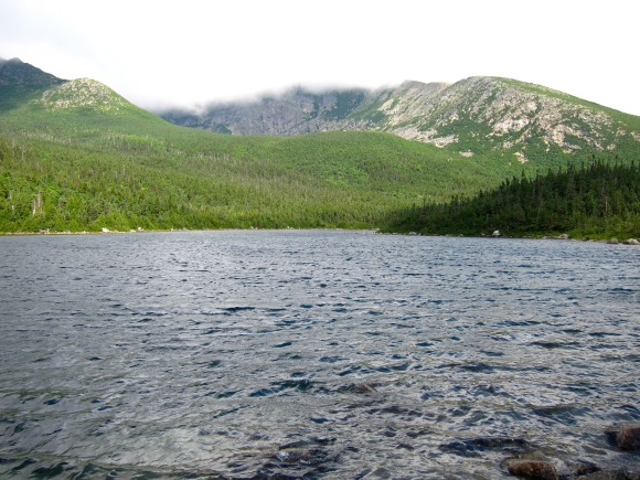 A view of Katahdin clouded in fog from Chimney Pond.