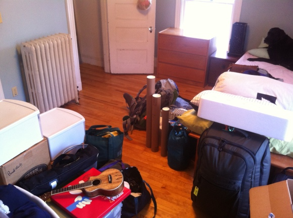 My room in Portland all packed up. Cash oversees the final packing from my bed.