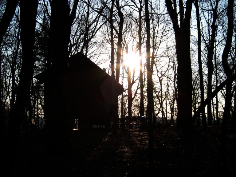 Sunrise at Hawk Mountain Shelter.