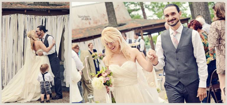 It was a beautiful day for a rustic/vintage pond-side camp wedding!